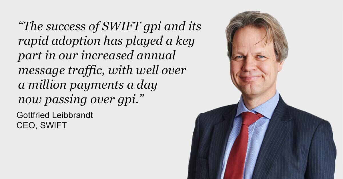 Double digit growth in SWIFT message volumes as gpi uptake soars